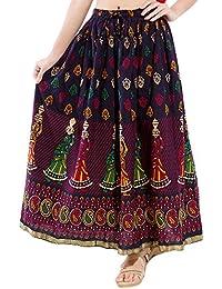 Disha Jaipuri Rajasthani Cotton Multi Colour Block Print Straigh Long Skirt for Women