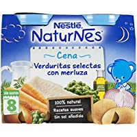 NESTLÉ Purés Pijama, tarrito de puré de verduras y carne, variedad Verduritas selectas con Merluza, para bebés a partir de 8 meses