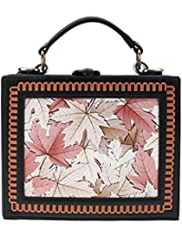 Phenovo Chic Floral Printed Top Handle Handbag Mini Crossbody Messenger Shoulder Bag
