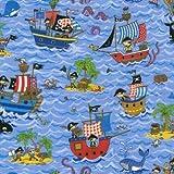 Fat Quarter Schatzinsel Pirat Schiffe 100% Baumwolle Quilten Stoff Nutex 88600