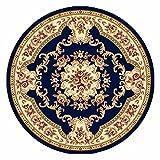Qianmo-Carpet Soggiorno Studio Camera da letto coperta al posto letto artigianale di Stereo ispessimento intagliato la tutela ambientale Home tappeto B-Style nascosto diametro blu da 0,8 m