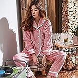OLLIUGE Pijamas para Mujer Conjunto De Pijamas Mujer Camisones Ropa De Dormir Ropa De Noche Invierno Rosa Franela Vellón De Coral Solapa Rayas Minimalista Cálida Gruesa Además De Terciopelo Dulce,L