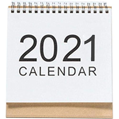 Beesuya Calendario da Tavolo 2021, Calendario a Fogli mobili da scrivania in Stile Semplice, Pianificazione del Programma Giornaliero per Ufficio, Scuola, casa