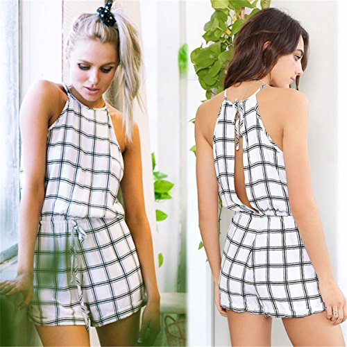 LOBTY Frauen Gitter Jumpsuits Hosen Shorts Rückenfrei Beachwear Overall Sommer Damenmode hotpants damen Weiß