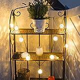 Asigo Solar Lichterkette | 10 LED Kugeln, warmweiß | Beleuchtung für draußen | Dekoration für Garten, Terrasse, Party | Außen | Vintage Stil