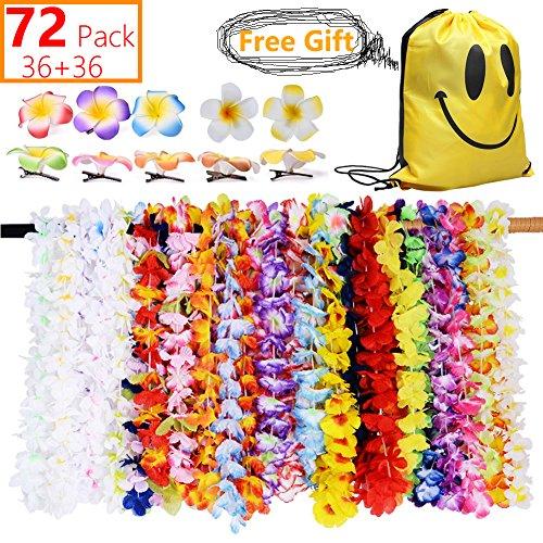 MI KAKA Hawaiian Blume Lei Halskette Girlanden Dekorationen Hawaii tropischen Strand Luau Seide bunte Blume Lei Thema Kränze mit Hawaiian Blume Haarspangen für Sommer Tiki Party Favors Tasche(72 Pack)