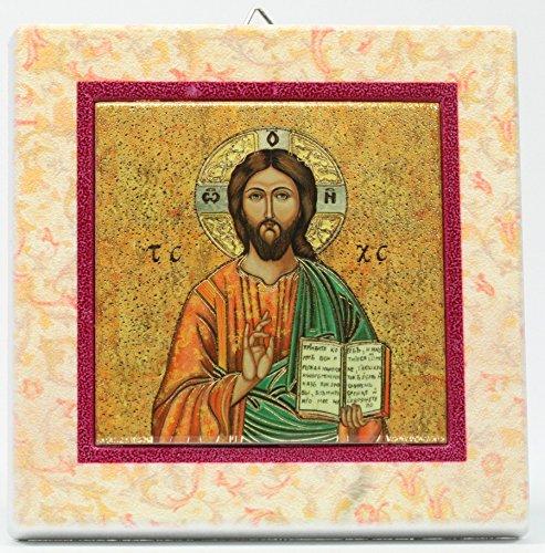 Icône – Le Christ & Cadre coloré, Christus & Farbiger Rahmen
