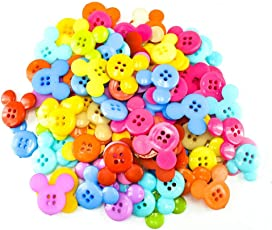 Unobite 4-Holes Mickey Design Plastic Buttons for Sewing and DIY Craft Pack of 100 Piece