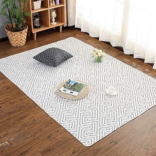 Liveinu Baumwolle Teppich mit Anti-Rutsch Unterstützung Faltbarer Abwaschbarer Japanische Tatami Spieldecke Fußboden Krabbeldecke Für Wohnzimmer Schlafzimmer 70x70cm Geometrisches Weiß