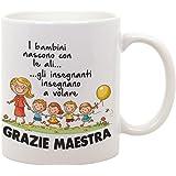 Tazza Mug in Ceramica Idea Regalo Grazie Maestra - i Bambini Nascono con Le Ali, Gli Insegnanti insegnano a Volare