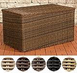 CLP Poly-Rattan Auflagenbox, 5 mm RUND RATTAN, 5 Farben & 3 Größen, für Kissen & Auflagen XXL = 1.315 Liter, braun-meliert