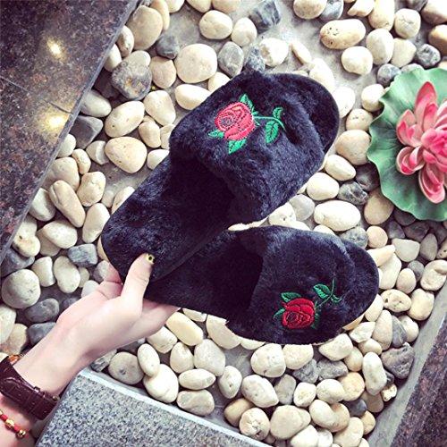 Hlhn donna piatto Keep Warm Roses soffice pelliccia sintetica piatto antiscivolo pantofola scarpe Flip flop sandalo, Grey, 38 Black