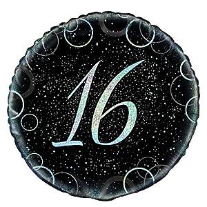 Unique Party- Globo foil de 16 cumpleaños, Color plateado metálico brillante, 45 cm (55818)