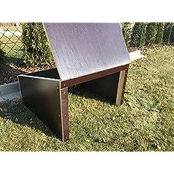Garaje para robot cortacésped, protección de madera oscura elegante, 69 x 69 x 45 cm, montado, resistente a la intemperie
