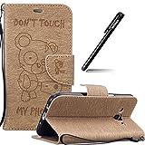 BtDuck Hülle für Samsung Galaxy J7 2016 Gold,Samsung Galaxy J7 2016 J710 Leder, Tasche Stand Klapphülle Bär Silicone Brieftasche Wallet Case Cover Lederhülle für Samsung Galaxy J7 2016 J710