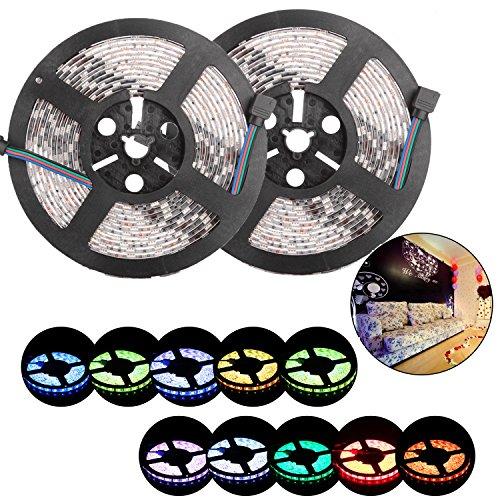 10m / 2x 5m LED Streifen Band 300LEDs Flexibel Wasserdicht RGB Farbe Change SMD 5050 LED Lichtkette Licht Strip Mit 44 Tasten Fernbedienung, 12V 10A Netzteil Trafo und RGB Controller