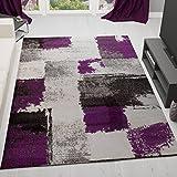 VIMODA Teppich Modern Design Abstrakt Kariert Meliert Farbe Lila Grau Schwarz Sehr Pflegeleicht 80x150 cm