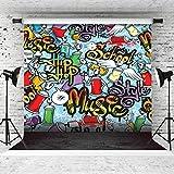 AIIKES 10x10FT/3Mx3M Hip Hop Style Vinyl Hintergrund Party Thema Hintergrund Graffiti Fotografie Hintergrund Für Studio Requisiten Foto Hintergrund 11-038