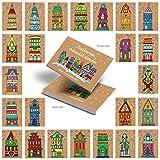 24 Stück Weihnachtshäuser Weihnachtspostkarten Weihnachtskarten rot blau grün natur 10,5 x 14,8 cm Adventskalender-Zahlen Postkarten-Block Kalender-Zahlen von 1 bis 24 Weihnachtskalender Kinder
