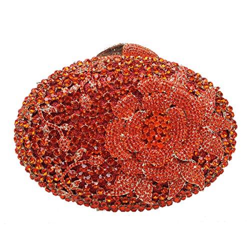 Bonjanvye Glitter Flower Clutch Purses Rhinestones and Handbags for Girls Red Orange