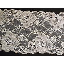 Off White Floral algodón encaje de costura para vestidos diseño de rosa algodón de encaje –