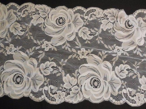 Off Weiß Floral Baumwolle Lace trim Kleid nähen Rose Muster Baumwolle Spitze Trim–Pro Meter 100cm * * Kostenlose UK P & P * * Schnelle Versand Bestellung * * (Elfenbein Trim Lace)