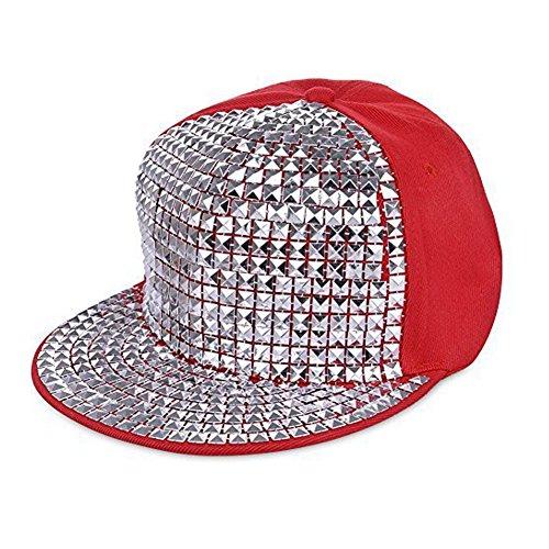 Très Chic Mailanda Unisex Basecap Hip Hop Baseballkappe Snapback mit Nieten (Baseball-handschuh-rot-blau)