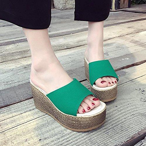 LvYuan Pantofole estive delle donne / Comfort Casual moda / tacco tallone / fondo spessa / piattaforma impermeabile / tacco alto / sandali / beach shoes Green