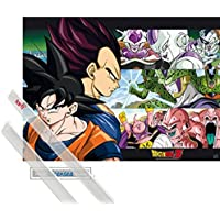 1art1® Póster + Soporte: Dragonball Z Póster Mini (52x38 cm) Son Goku & Ennemis Y 1 Lote de 2 Varillas Transparentes