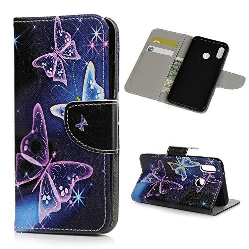Huawei P20 Lite Hülle, Filp PU Leder Tasche Case : Book Type Gemalt Handyhülle mit Soft TPU Innere Schutzhülle in Lila Schmetterling