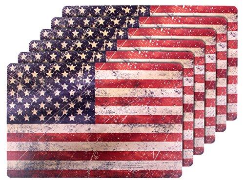 6 PZ di tovagliette americane in stile bandiera Stati Uniti (145084), set da tavola in polipropilene di alta qualità, Misure 44 x 28,5 cm, per decorazione festa a tema USA americaco Stars and Stripes
