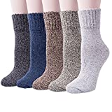 Chaussette en Laine Tricot Chaud Épais pour Femme Homme Vintage Automne-Hiver Socks Lot de 4/5 (4#)
