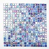 Fliesen Mosaik Mosaikfliese Glas blau perlmutt Quadrat Bad Küche 4mm Neu #172