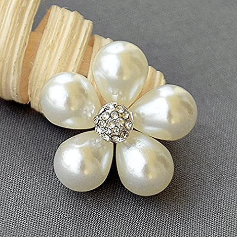 5 Rhinestone Button Embellishment Pearl Crystal Wedding Brooch Bouquet Invitation Cake Decoration Hair Comb Shoe Clip BT595 by Your Perfect Gifts