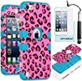 iPod Touch 5th 6th Generation Case, iPod Touch 5/6 Case Genuine ZAFOORAH Hybrid Shockproof Hard Defender 3 Layers with 3 Bonus items Stylus, Screen Protector, Microfiber Cloth (Leopard - 3 Layers - Dark Pink/Light Blue)