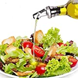 Shuxy Olive Öl Essig Spender Salatdressing Cruet Quadratisches Glas Kokosölflasche mit Edelstahl Füllstand-Ausgießerauslauf - 8,5 Unzen / 250 ml