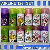 12 x Airline Lufterfrischer Mix für Airwick Fresh Matic 250ml