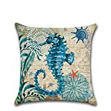 Sea Animal Cushion Covers Case for Sofa Bed Living Room Bedroom Home Decor, Excelsio Personalised Square Cotton Linen Pillow Cushion Covers 45x45cm/18X18inch (Sea Horse)