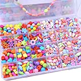 Newin Star Bunte Perlen, 24 Arten DIY Bunte Acryl Perlen Kit für Kinder Zum DIY Basteln von Perlenschmuck und Armbänder - Bonus 4 Set DIY Werkzeug (Bunt Cartoon)