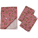 Guru Kripa Baby Products™ Presents New Born Baby Bed Protector Waterproof Multipurpose Changing Mat Plastic Sheets Baby Changer Sheet Cotton Foam Cushioned Sleeping Mat & Changing Mat Unisex, 0-9 Months, Pack Of 1+3 (Red-2)