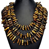 Natural Tiger's Eye Statement Necklace Woman's Handmade Gemstone Jewellery by Tantric Tokyo