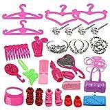 Disfraces Barbie vestido de la muñeca ropa y accesorios para vestidos de zapatos y accesorios de cocina Grupo rebanada 42pcs regalo de cumpleaños para la Navidad.