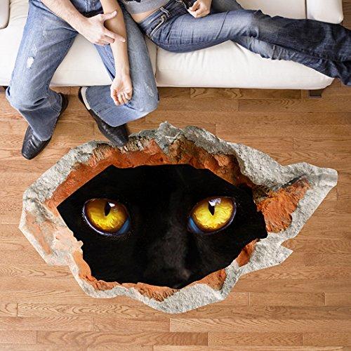 Wandsticker 3D kreative schwarze Katzen Auge Verschönerung dekorativen Hintergrund mit Gemälden, Wandaufkleber, Aufkleber Wandaufkleber, Wandbilder verziert
