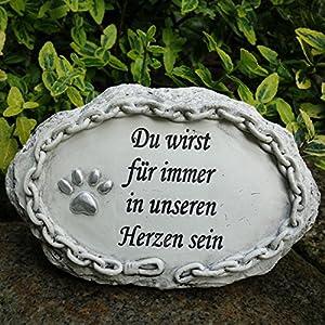 Deko Tier Gedenkstein Du wirst für immer in unseren Herzen sein. Breite 16cm. 1 Stück