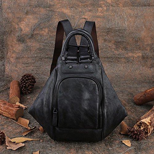 Le nouveau millésime de la couche d'en-tête épaule casual sac à bandoulière en cuir multifonctions grande capacité sac pour femme Gray