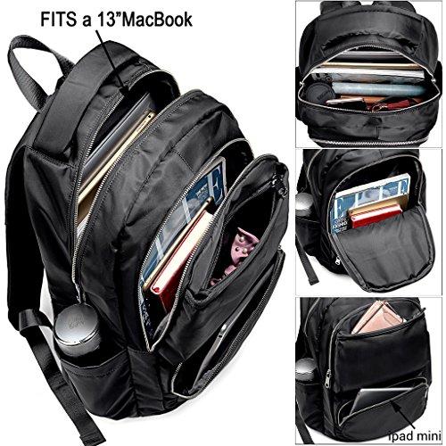 Imagen de uto laptop  oxford impermeable tela nylon unisex  escuela colegio bookbag bolsa de viaje bolso hombro negro alternativa