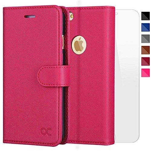 Rote Rosen Iphone (OCASE iPhone 6 Hülle Handyhülle iPhone 6S [ Gratis Panzerglas Schutzfolie ] [Premium Leder] [Standfunktion] [Kartenfach] [Magnetverschluss] Schlanke Leder Brieftasche für Apple iPhone 6/6S Rose Rot)