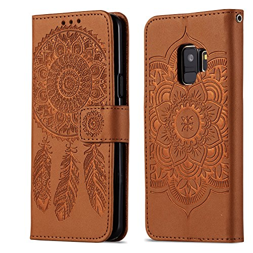Galaxy S9 Hülle Leder, TOCASOWallet Case kompatibel für Samsung Galaxy S9 Leder Galaxy S9 Lederhülle Brieftasche Case kompatibel für Galaxy S9 Handyhülle -Braun