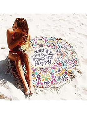 philna12Fashion Round carta flecos borla toalla de playa chal para manta de hasta
