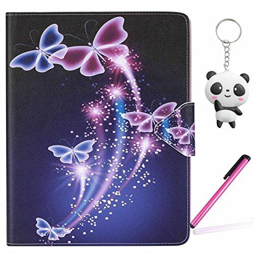 iPad Air 2 / iPad 6 Hülle Farbe Schmetterling PU Leder Magnetverschluss Ständer Flip Brieftasche Schutzhülle Handyhülle Mit Kartenfach Für Apple iPad Air 2 / iPad 6 Mit Zwei Geschenk
